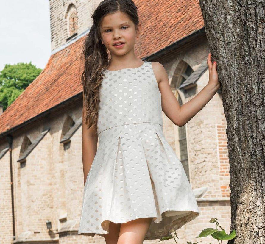 Communiejurk  off white jacquard met stippen van Lofff voorjaar 2019