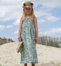 MIJN-kleding Enkellange strandjurk zeegroen bloemen