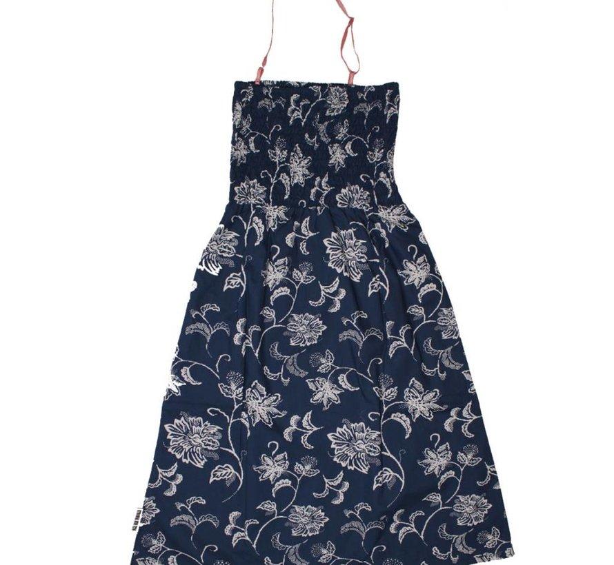 Strandjurk blauw/offwhite bloemenmotief van MIJN-Kleding zomer 2015