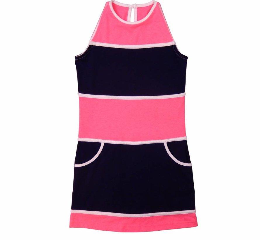 Blauw roze  geblokte jurk van  LoFff