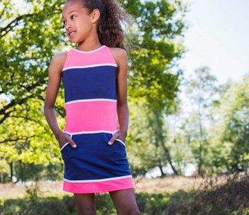 LoFff Geblokte jurk blauw-roze