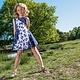 LoFff Blauw witte wijde jurk met strikjes van  LoFff