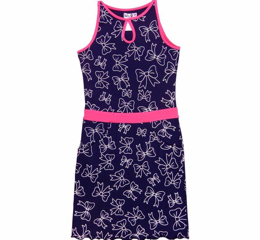 Midi jurk blauw met neon pink van  LoFff