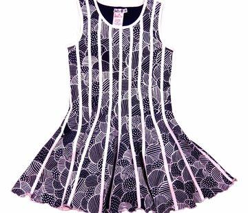 LoFff Blauw witte jurk met witte belijning