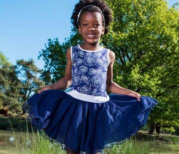 LoFff Wijde jurk blauw wit