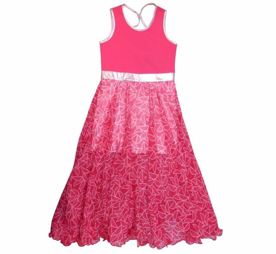 Lange roze jurk met chiffon rok van  LoFff