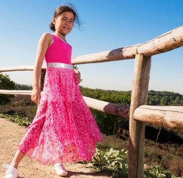LoFff Lange roze chiffon  jurk