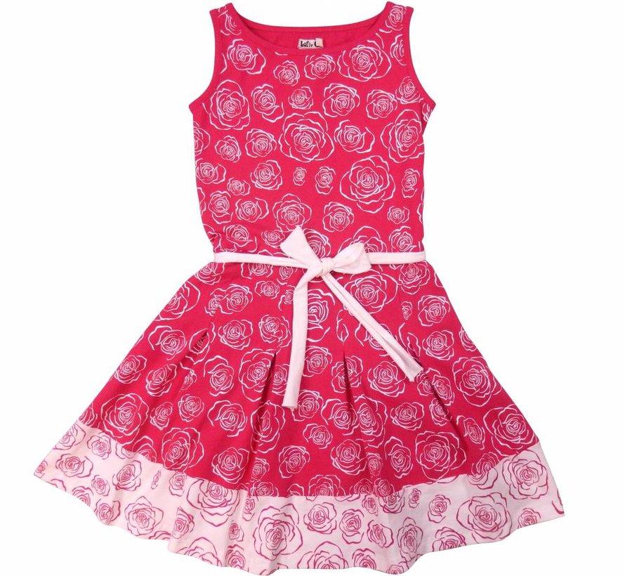 Roze jurkje met print rozen van Lofff