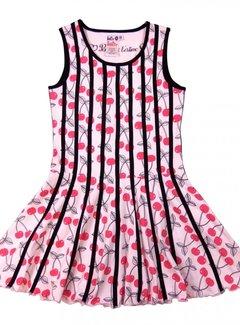 LoFff Belijnde jurk kersjes, maat 110/116