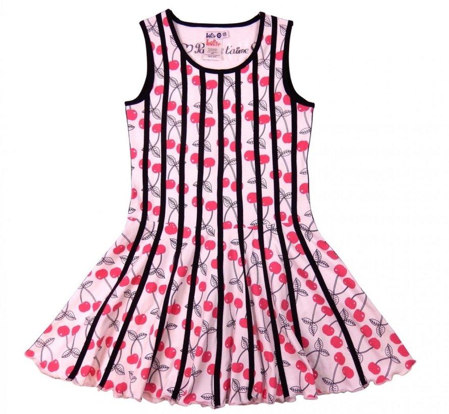 Belijnde jurk kersjes van Lofff, maat 110/116