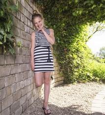 LavaLava Zomerjurk 'Stripes are hot' zwart wit