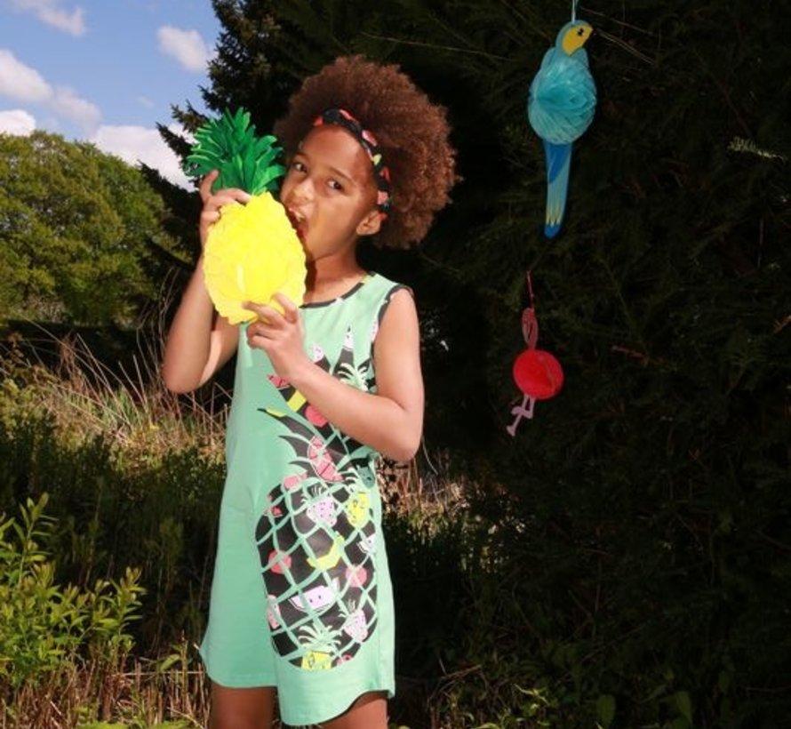 Jurk Aya, ananas, helder mint, Lovestation22, zomer 2019