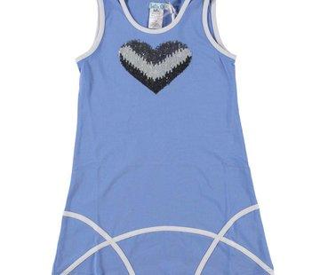 LoFff Zomerjurkje jeansblauw met zilveren pailletjes hart