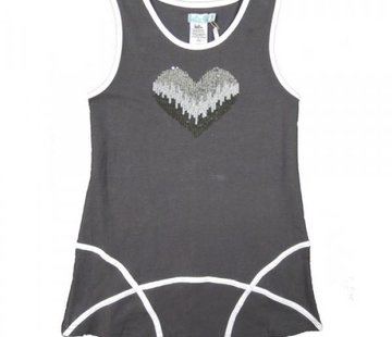LoFff Jurkje grijs met zilveren pailletjes hart