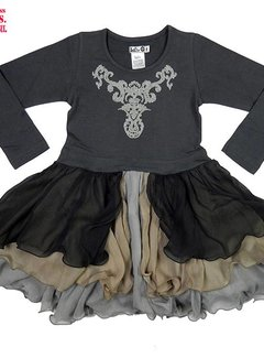 LoFff Feestjurkje 'Party Dress' grijs, mt 92, 98 en 104