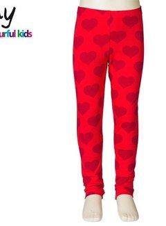 JNY Design Hartjes legging rood, maat 98