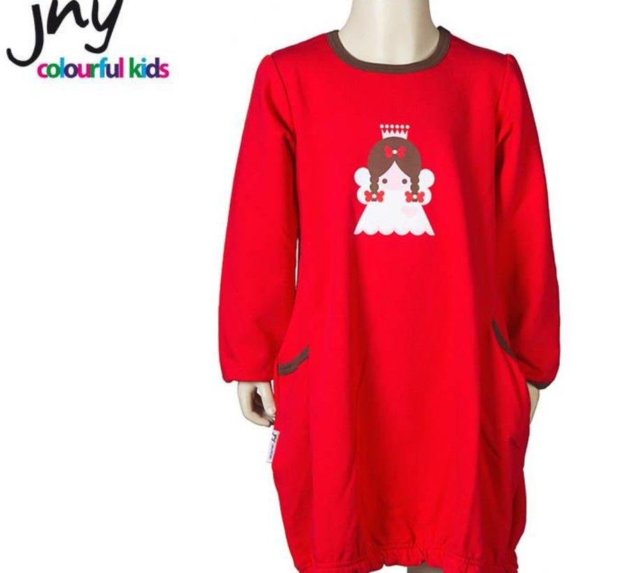 Jurkje in rood met grote kerstengel applicatie van JNY Design