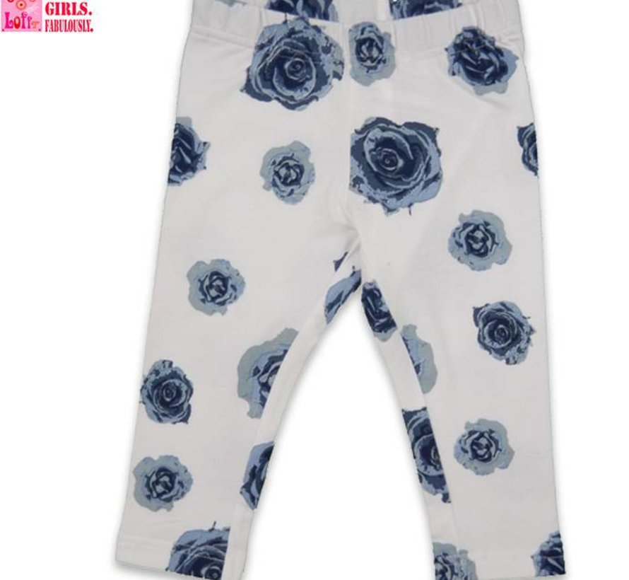Legging driekwart in blauw wit bloem van LoFff
