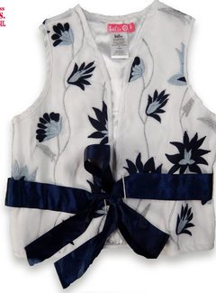 LoFff *SUPERAANBOD* Vestje wit met blauwe borduring