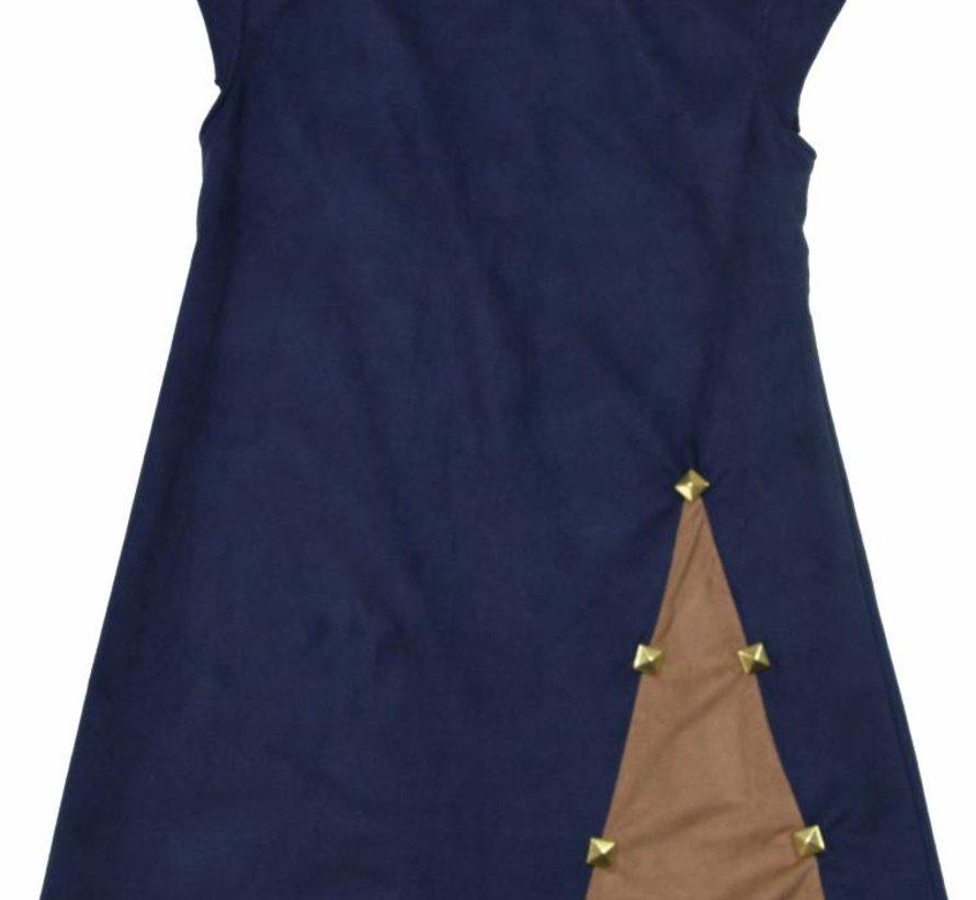 Blauw jurkje suede met inzet uit de wintercollectie van Soekartien
