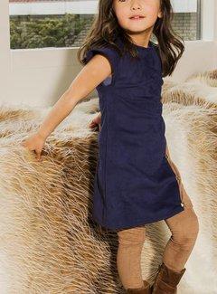 Soekartien -hand made  Blauw suede jurkje met inzet