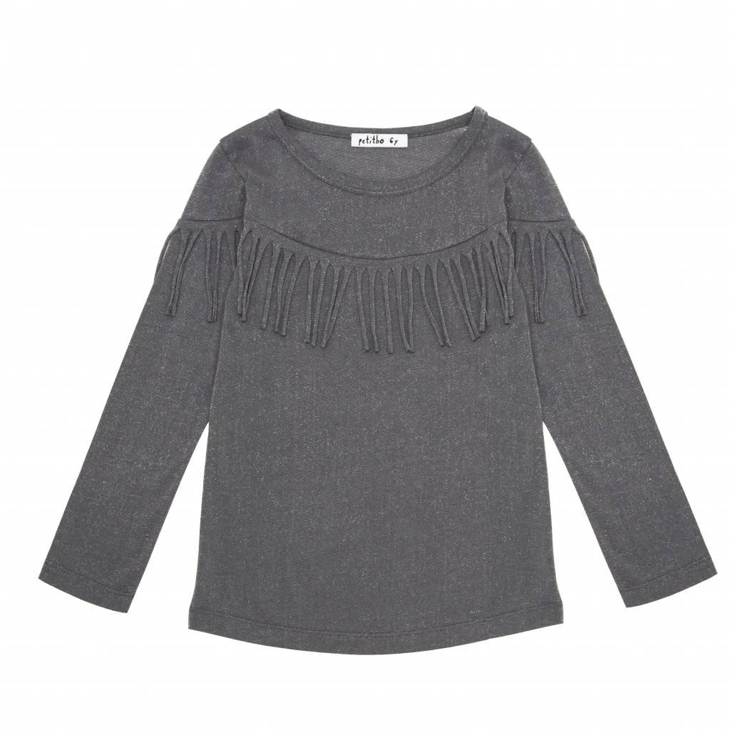 Petitbo Mist top fringes glitter gray