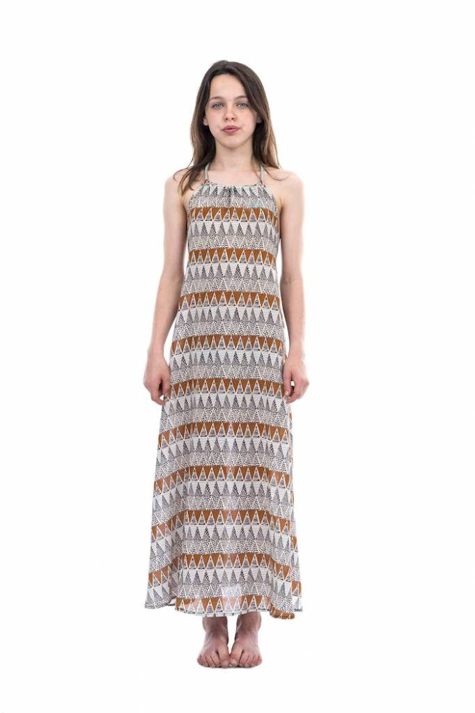 Miss Chips Long dress open back cord closure triangle print