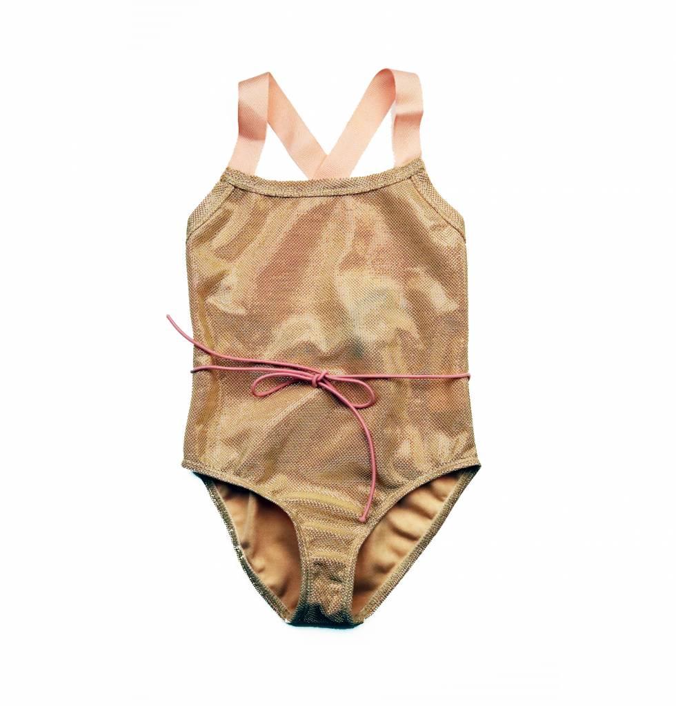 Cazandomariposas  Lurex swimsuit gold