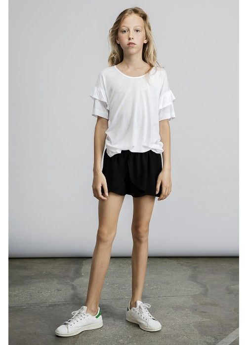 Little Remix New blos ruffle tee white