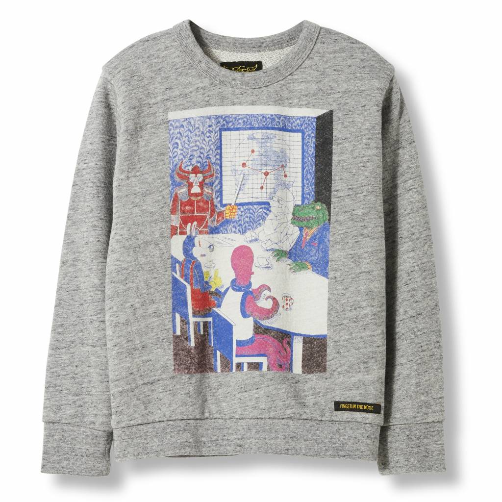 Finger in the nose Brian monster sweater heather gray