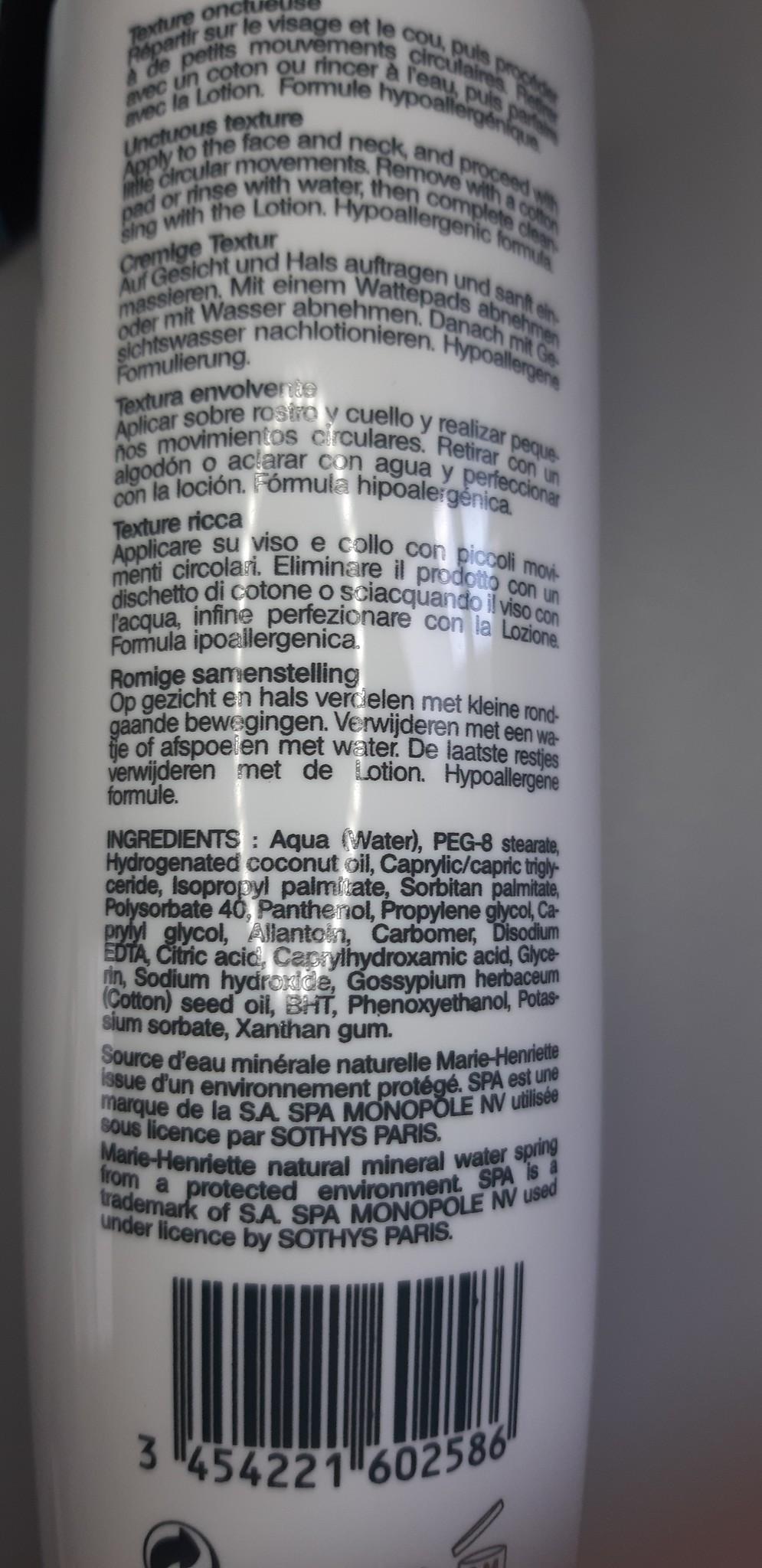 Sothys Lait démaquillant Confort/ reinigingsmelk voor de droge en gevoelige huid milk