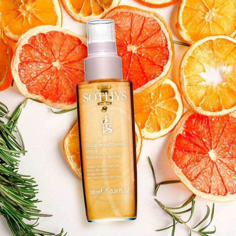 Sothys Voedend lichaams elixir droge lichaamsolie met oranjebloesem en cederhout