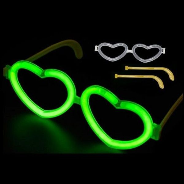Heart Shaped Glow in Dark Glasses Connectors (bulk)