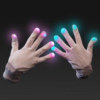 GlowFactory LED-Handschuhe Weiß / Leuchtende Handschuhe weiß