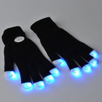 GlowFactory LED-Handschuhe schwarz / Leuchtende Handschuhe schwarz
