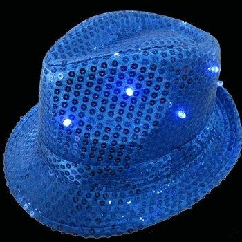 Leuchtender Paillettenhut blau