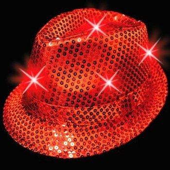 GlowFactory Leuchtender Paillettenhut rot