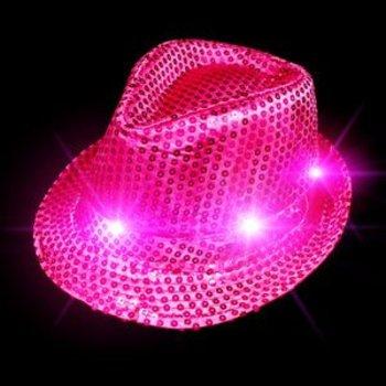GlowFactory Leuchtender Paillettenhut pink