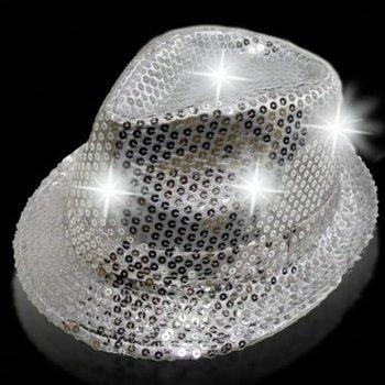GlowFactory Leuchtender Paillettenhut silber