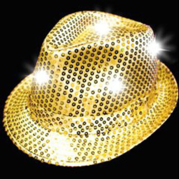 GlowFactory Feesthoedje met licht - Goud