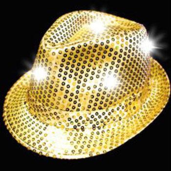 Leuchtender Paillettenhut gold