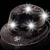 Leuchtender Paillettenhut schwarz (Bulk)