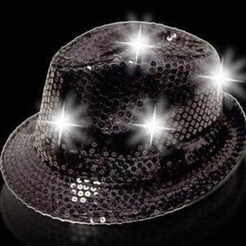 GlowFactory Feesthoedje met licht - Zwart