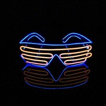 GlowFactory Light Up EL Wire Shutter Glasses Blue / Orange