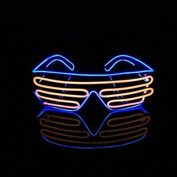 Light Up EL Wire Shutter Glasses Blue / Orange