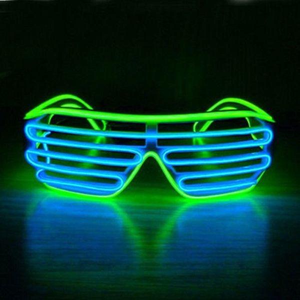 Light Up EL Wire Shutter Glasses Blue / Green (Bulk)