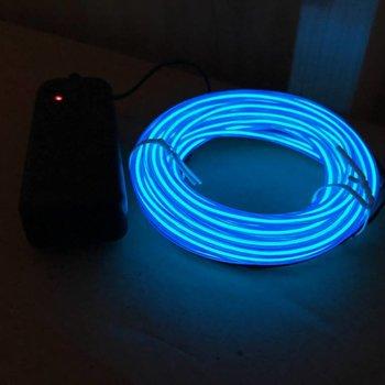 GlowFactory EL Wire 5 meter - Blauw