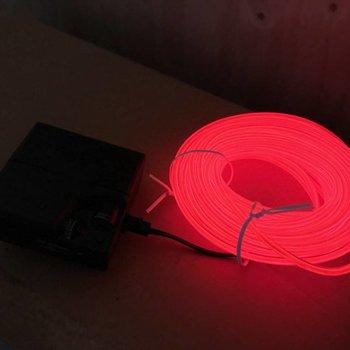 GlowFactory EL Wire 10 meter - Rood