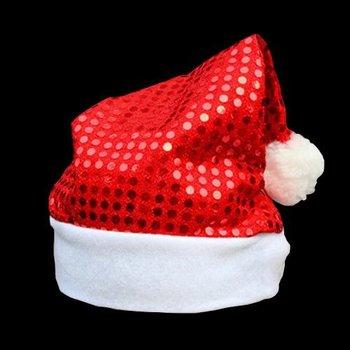 GlowFactory Pailletten-Nikolausmütze rot / Weihnachtsmütze mit roten Pailletten