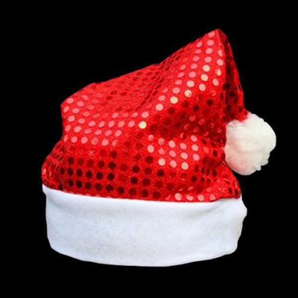 Pailletten-Nikolausmütze rot / Weihnachtsmütze mit roten Pailletten (Bulk)